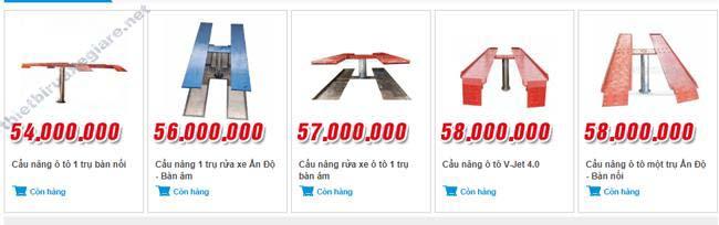 Giá của một số model cầu nâng 1 trụ được ưa chuộng