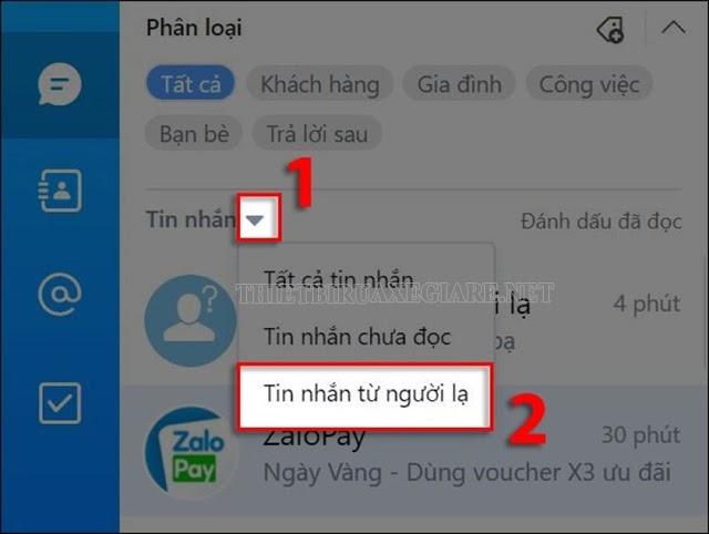 lọc tin nhắn hội thoại từ Zalo