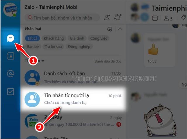 xem tin nhắn người lạ trên Zalo PC